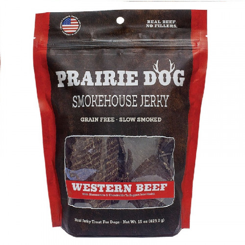 Prairie Dog Smokehouse 西方牛肉條狗零食15盎司