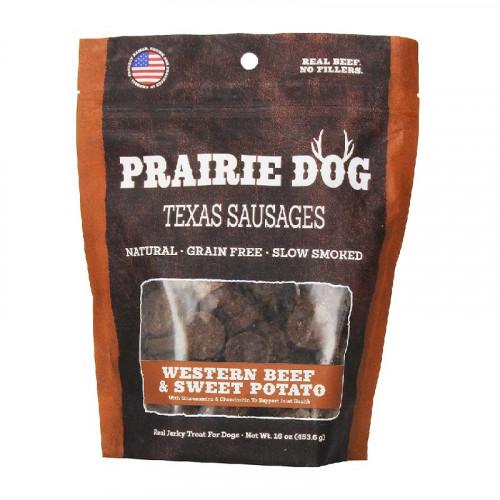 Prairie Dog Texas Sausages 西式牛肉和甘薯狗零食16盎司