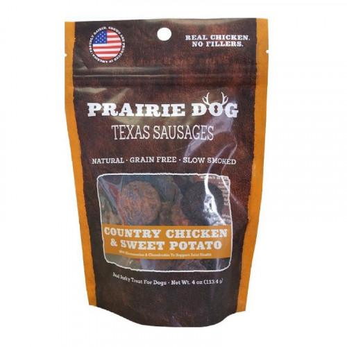 Prairie Dog Texas Sausages 鄉村雞肉和甘薯狗零食4盎司
